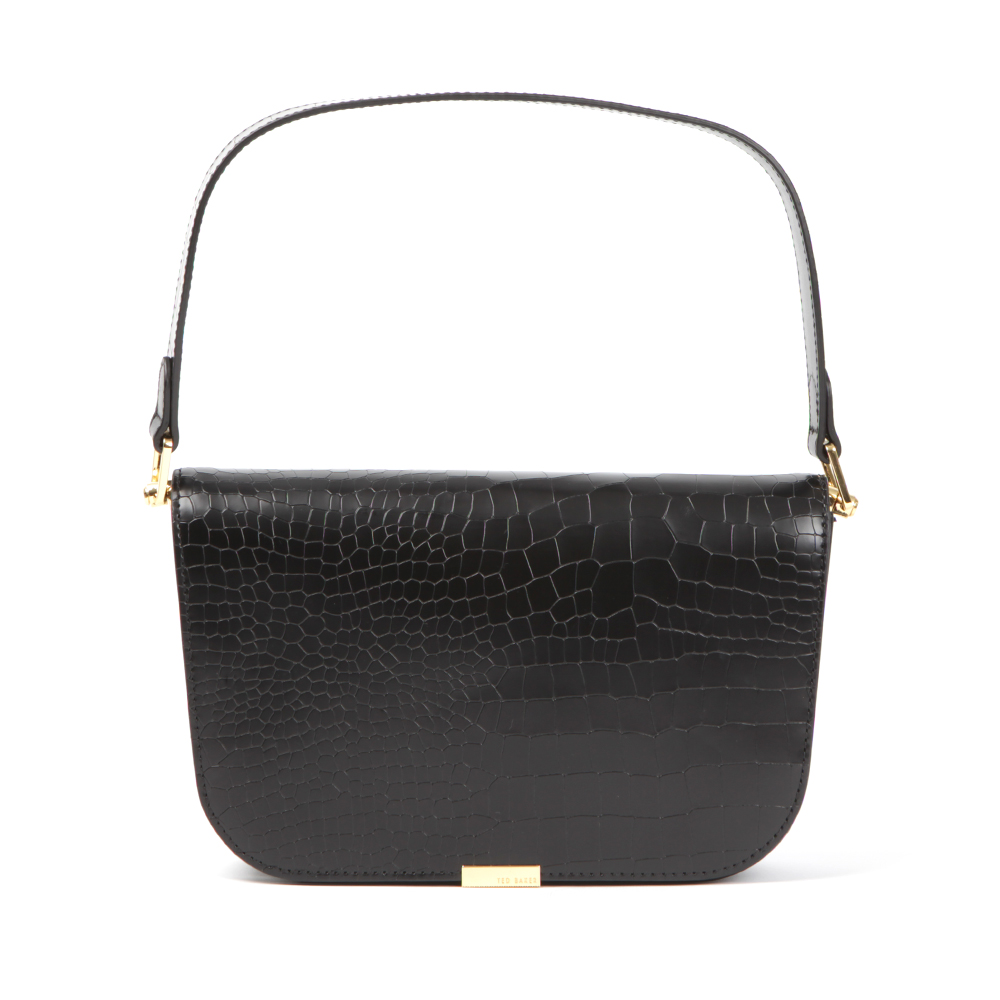 Ted Baker Melaney Exotic Metal Bar Shoulder Bag Is A Small Leather Shoulder Bag That Has Been Designed With An All Over Snakeskin-like Texture And A Short Handle Strap. The Black Ted Baker Bag Features Two Interior Pockets And Is Finished With Gold Branded Hardware To The Front. Approx: H: 15cm X W: 25cm X D: 6.5cm