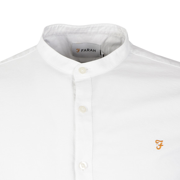 Farah Mens White Brewer L/S Grandad Shirt main image