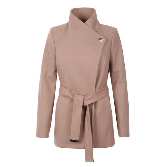 Ted Baker Womens Brown Elethea Short Wrap Collar Coat main image