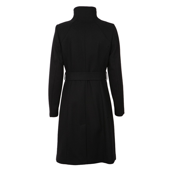 Ted Baker Womens Black Afina Contrast Lepel Long Wrap Coat main image