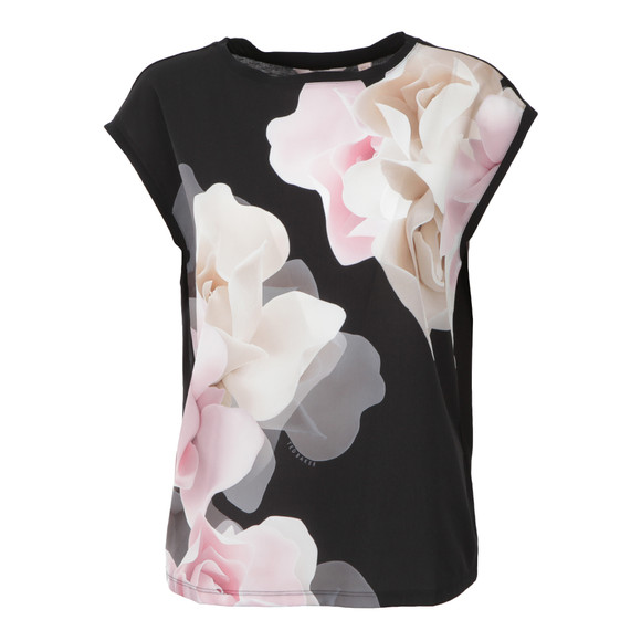 Ted Baker Womens Black Bellsi Porcelain Rose Tee main image