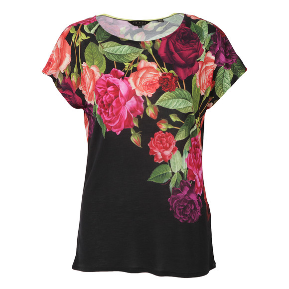 Ted Baker Womens Purple Qutie Juxtapose Rose Tee main image