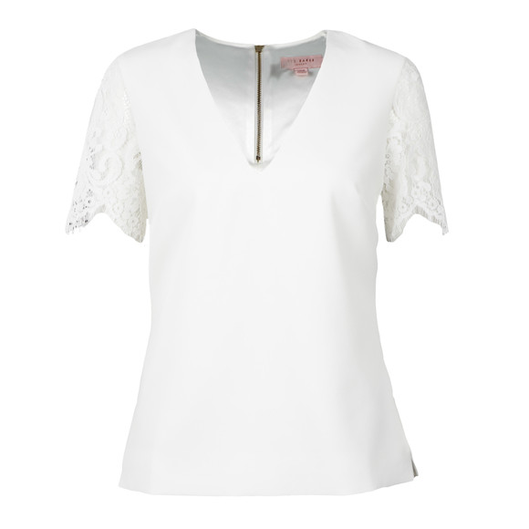 Ted Baker Womens Off-white Jessin Lace Sleeve Top main image
