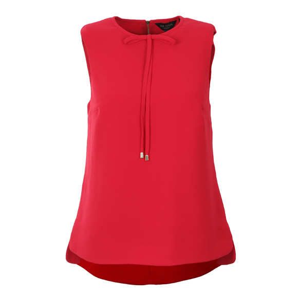 Ted Baker Womens Red Natalle Crepe Sleeveless Bow Top main image