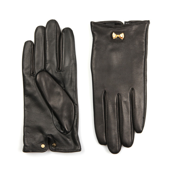 Ted Baker Womens Black Avia Metal Bow Leather Gloves main image