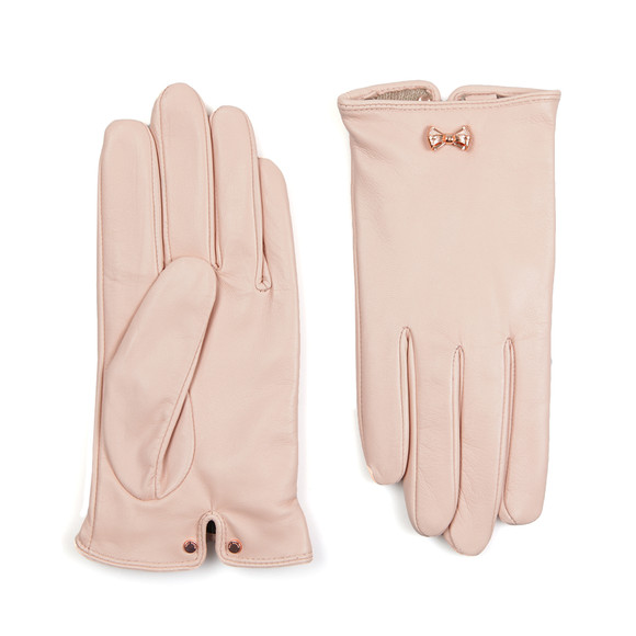 Ted Baker Womens Pink Avia Metal Bow Leather Gloves main image