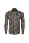Pretty Green Mens Blue Stretford AOP Shirt
