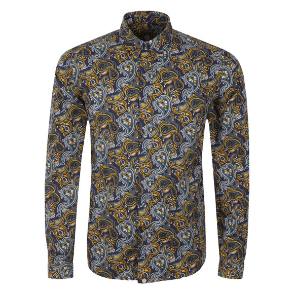 Pretty Green Mens Blue Stretford AOP Shirt main image