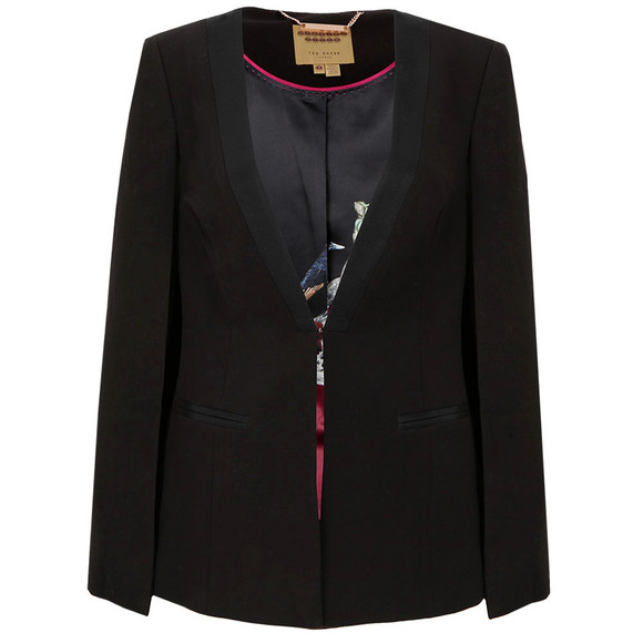 Ted Baker Womens Black Maggyy Ottoman Cape Blazer main image