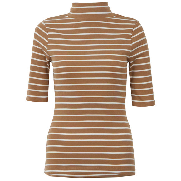 French Connection Womens Brown Duty Stripe Polo Neck main image