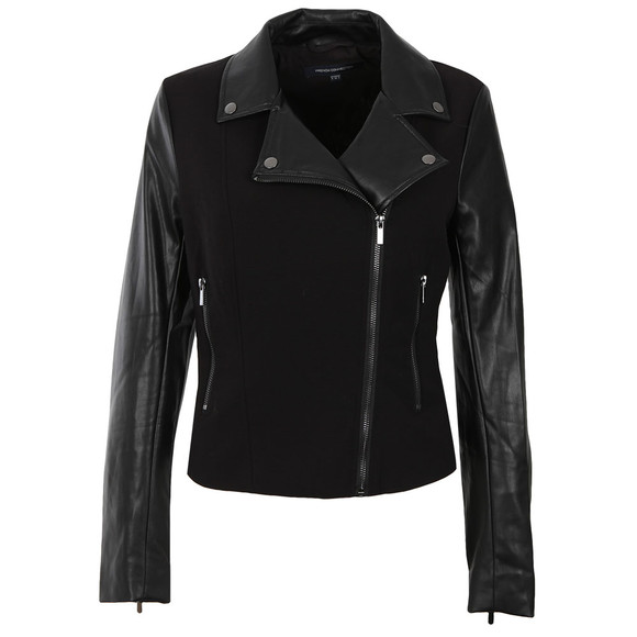 French Connection Womens Black Alana Mix Biker Jacket main image