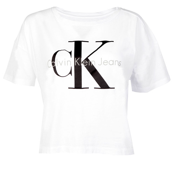 Calvin Klein Womens White Teca-13 CN Crop Tee main image