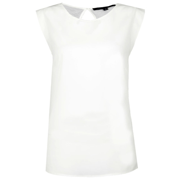 French Connection Womens White Polly Plains Capped Tee main image