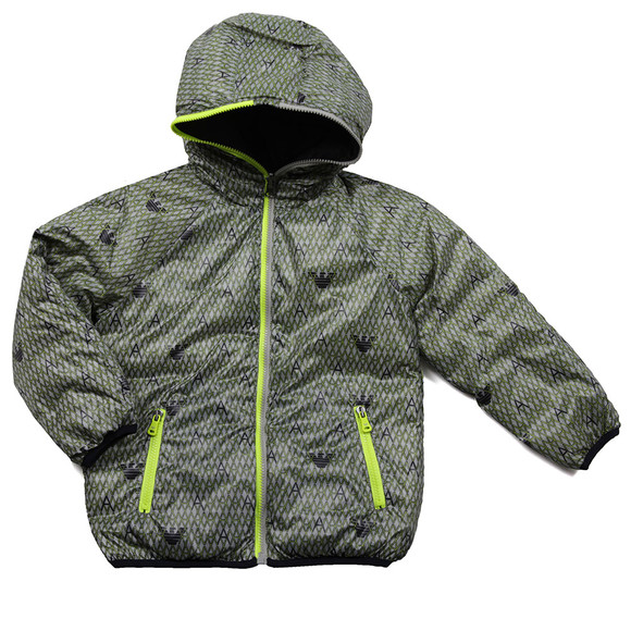 Armani Junior  Boys Grey Allover Pattern Reversible Jacket main image