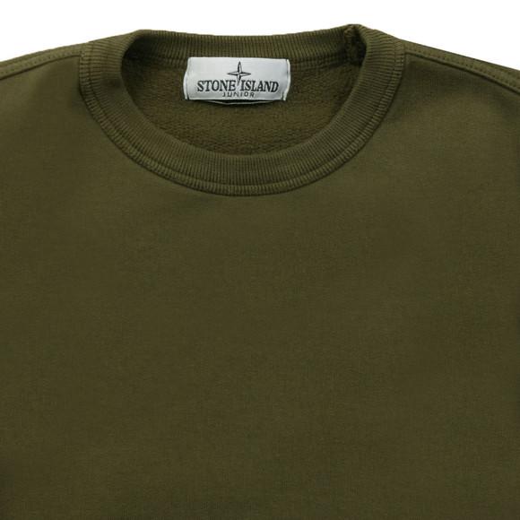 Stone Island Junior  Boys Green Sleeve Badge Crew Neck Sweatshirt main image