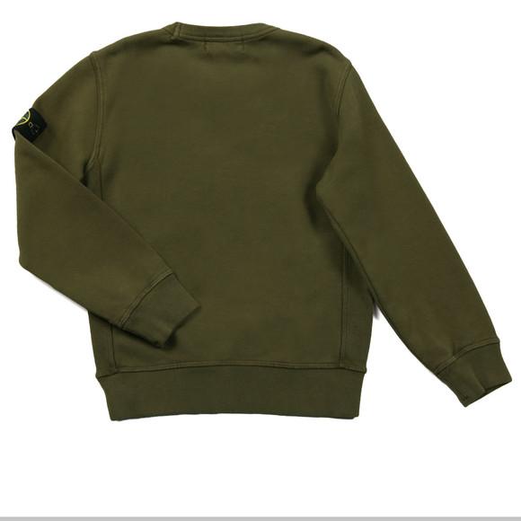 Stone Island Junior Boys Green Sleeve Badge Crew Neck Sweatshirt main ...