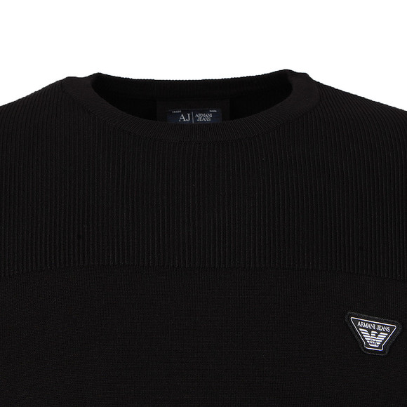 Armani Jeans Mens Black Ribbed Knitted Crew Jumper main image