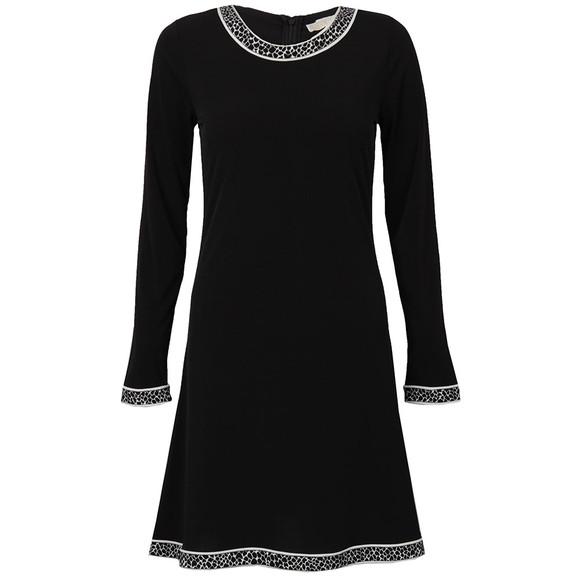 Michael Kors Womens Black Michael Kors Long Sleeve Crew Neck Border Dress main image