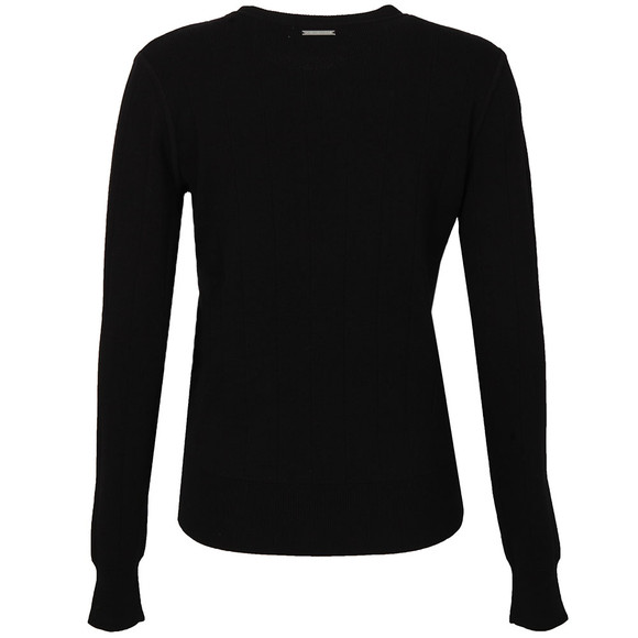 Michael Kors Womens Black Slash Yoke Crew Jumper main image