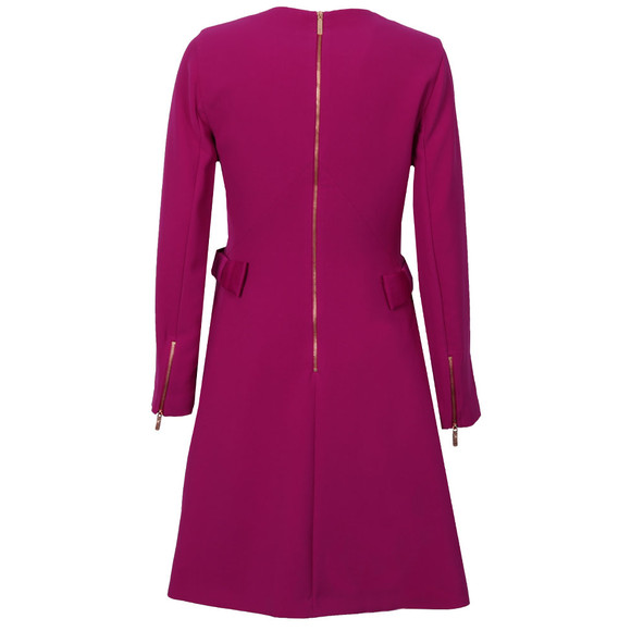 Ted Baker Womens Purple Emorly Side Bow Long Sleeve Dress main image