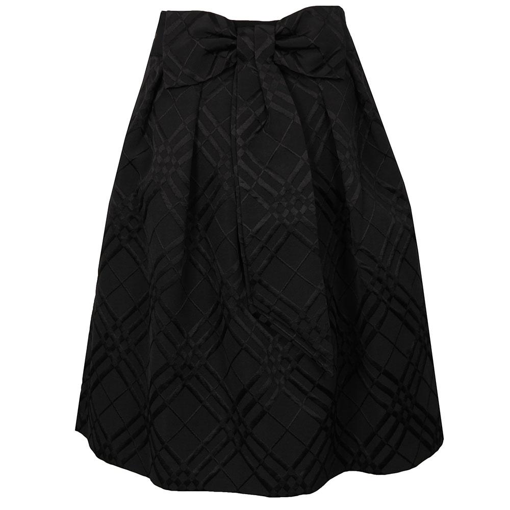 Mansii Check Bow Detail Full Skirt main image