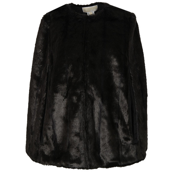 Michael Kors Womens Black Reversible Faux Fur Cape main image