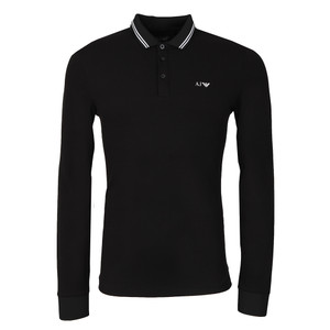 8N6F36 Tipped Long Sleeve Polo Shirt