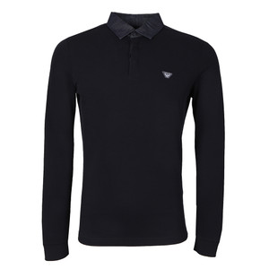 Denim Collar Long Sleeve Polo Shirt