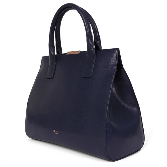 Ted Baker Womens Blue Laurena Mini Grain Leather Metal Bar Tote main image