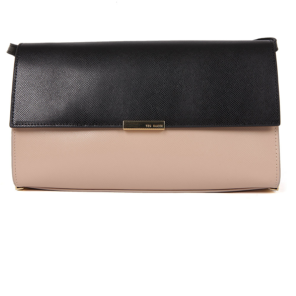Ted Baker Jade Mini Grain Tube Feet Crossbody Bag in 'camel' is a black and nude coloured formal bag that has been constructed from a textured leather and features metallic gold hardware, displaying Ted Baker branding. Wear on the shoulder using the long adjustable shoulder strap or tuck into the bag to create a sleek clutch. Approx: H: 15cm x W: 25.5cm x D: 8.5cm