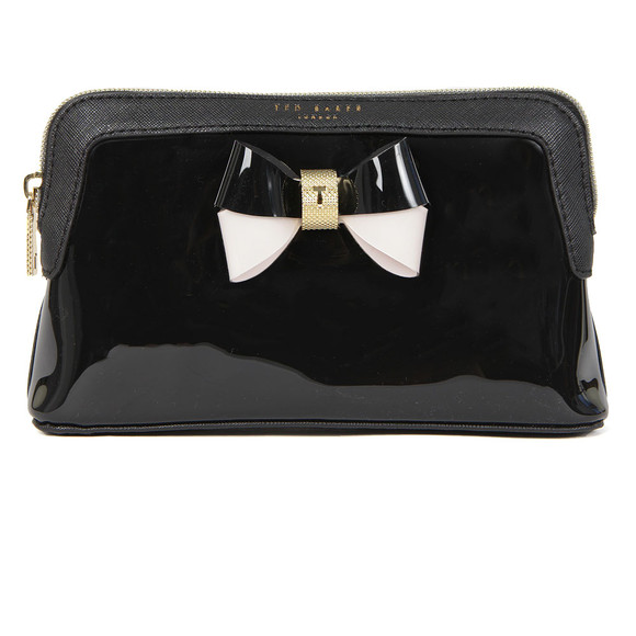 Ted Baker Womens Black Rosamm Colourblock Bow Make Up Bag main image