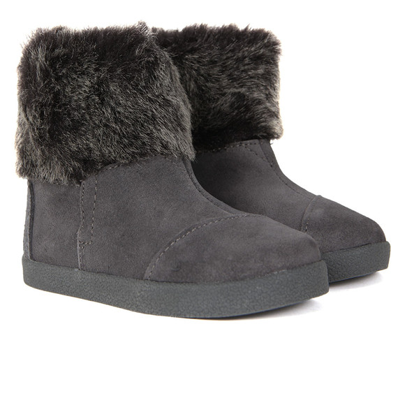 Toms Girls Grey Suede Faux Fur Nepal Boot main image