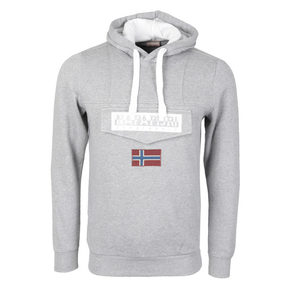 Napapijri Mens Grey Burgee Hooded Sweat main image
