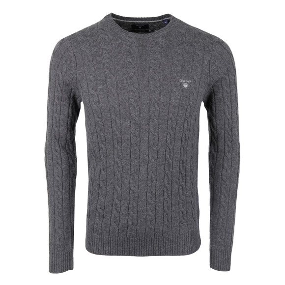 Gant Mens Grey Cable Crew Jumper main image
