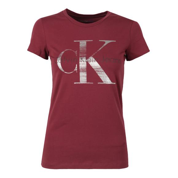Calvin Klein Womens Red Shimmer Logo T Shirt main image