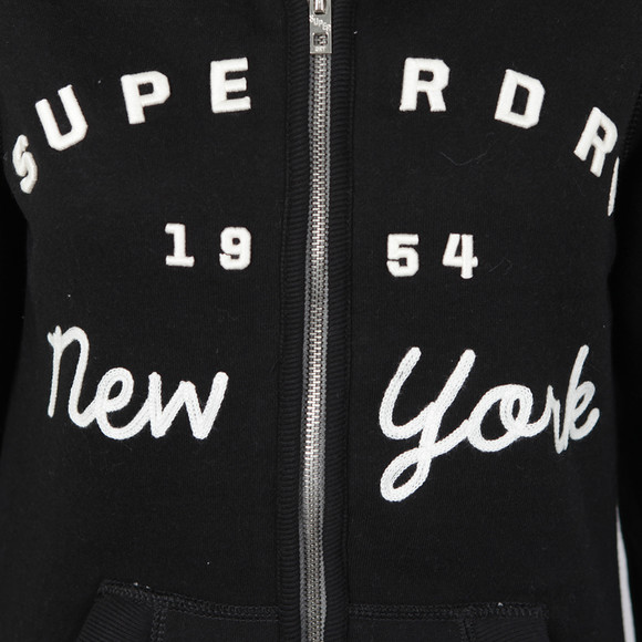 Superdry Womens Black Applique Borg Zip Hoody main image