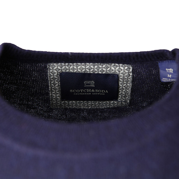 Scotch & Soda Mens Blue Shoulder Detail Knit Jumper main image