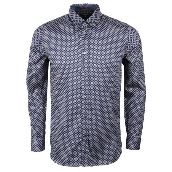 Ted Baker Mens Blue L/S Geo Print Shirt main image