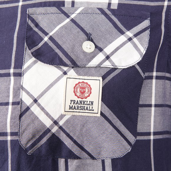 Franklin & Marshall Mens Blue Large Check Shirt main image
