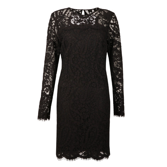 Michael Kors Womens Black Scallop Lace Dress main image