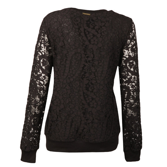 Michael Kors Womens Black Lace Rib Sweatshirt main image