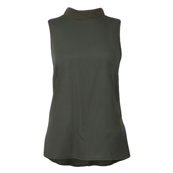 French Connection Womens Green Crepe Light Mock Neck Top main image