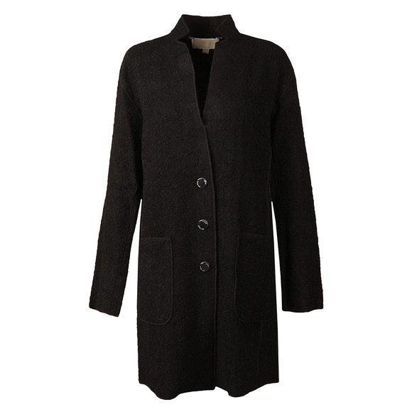 Michael Kors Womens Black Raw Edge Overlap Coat main image