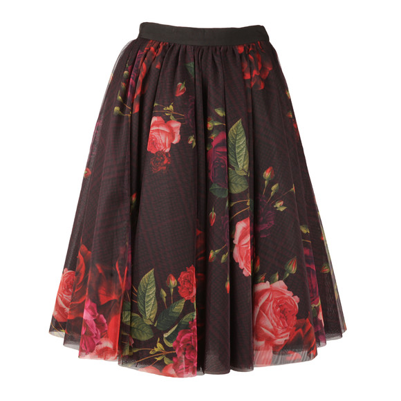 Ted Baker Womens Red Ondra Juxtapose Rose Tutu Mid Skirt main image