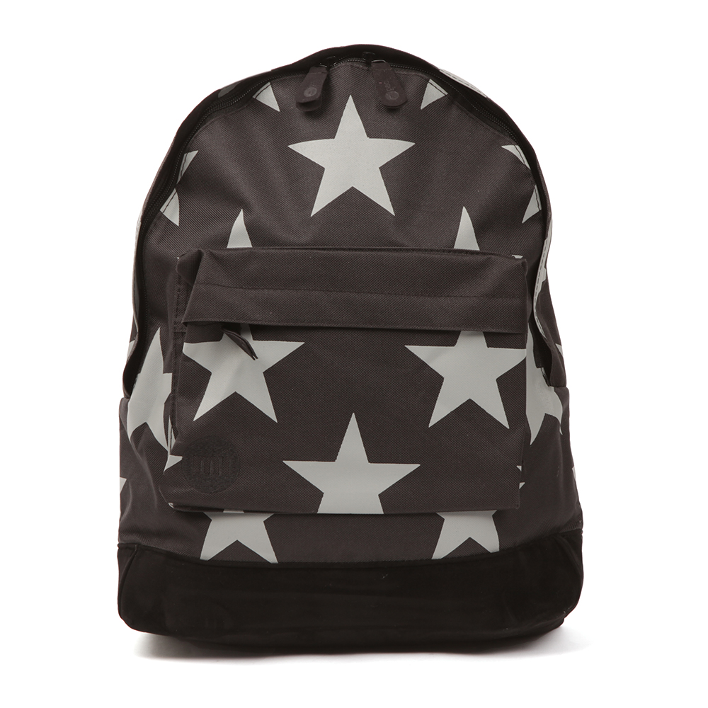 Mi Pac XL Backpack, in Black and Grey. Combines both fashion and function.A tough and durable woven backpack with a faux suede bottom. Zip entry to the large compartment, front zip pocket and large stars printed all over. Completed with the Mi Pac logo embroidered to the front.