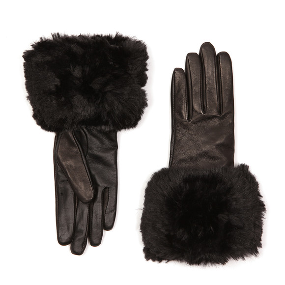 Ted Baker Womens Black Emree Faux Fur Cuff Gloves main image