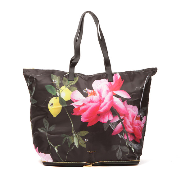 Ted Baker Womens Black Geralyn Citrus Bloom Fold Away Shopper main image