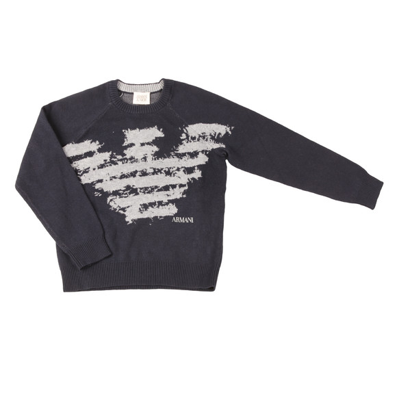 Armani Junior  Boys Blue Large Logo Jumper main image