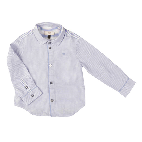 Armani Baby Boys Blue Patterned & Stripes Shirt main image