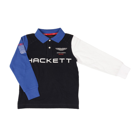 Hackett Boys Blue AMR Multi LS Polo Shirt main image